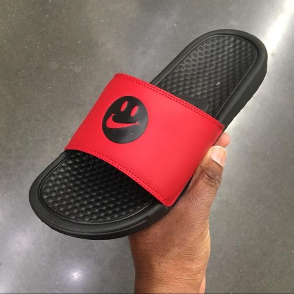 Nike Red Smile Benassi Slides Have A
